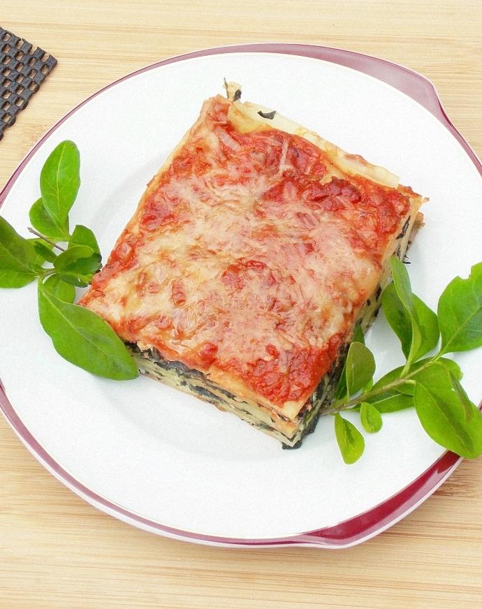 Lasagne szpinakowa z białym serem